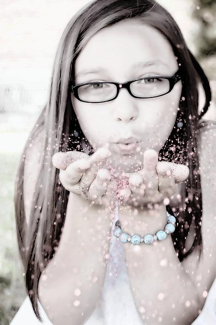 girl-blowing-glitter-113790_640
